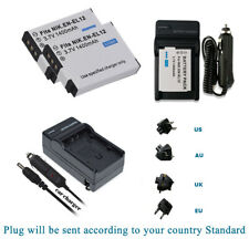 2 EN-EL12 Battery+Charger for Nikon Coolpix AW130 A900,W300 P340,S9900 S8200,S31