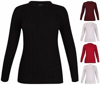 Womens Plus Size Long Sleeve Ladies Cable Knitted Sweater Long Tunic Jumper Top