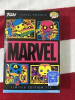 Funko Pop Black Light Marvel Shirt Tee Large Spiderman Capt America Iron Man