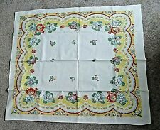 """Vintage tablecloth 46"""" x 40"""" flowered yellow, red, blue heavy cloth"""