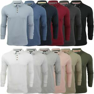 Mens Polo T-Shirt by Brave Soul Lincoln Pique Long Sleeved