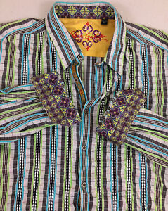 Robert Graham Men Dress Shirt 2XL Multi-Color Stripes-  Good Condition