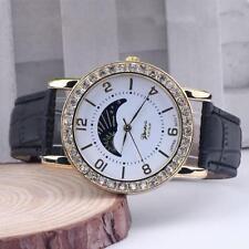 Ladies Fashion Gold Platinum Range Quartz Rhinestone Black Leather Wrist Watch.