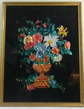 Large Antique Colorful Tinsel Picture Urn of Flowers Later 19th Century