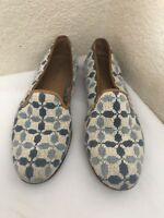STUBBS & WOOTTON BLUE NEEDLEPOINT TAN LEATHER TRIM LOAFERS WOMEN SZ 7.5AA