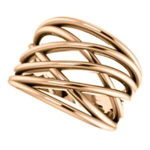 14 KT Rose Gold Polished Weave Detailed Design Wide Cigar Band Ring NEW Heavy