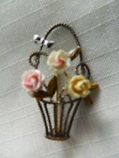 GREED STERLING SILVER SIGNED PIN FLOWER BASKET BROOCH
