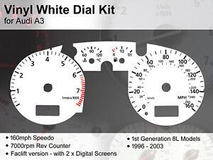 Audi A3 (1996 - 2003) 8L Facelt Models - 160mph / 7000rpm - Vinyl White Dial Kit