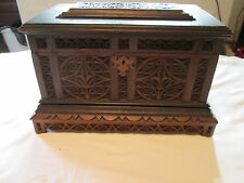 "ANTIQUE CARVED WOOD TRAMP ART FOLK ART WOODEN BOX 15""X 8"" X 9"""