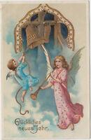 DG 81. Neujahr 31.12.1915 ! Engel Kinder mit Goldglocken ! Prägekarte !