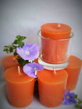 5 Sandalwood scented VOTIVE hand made candles  + 1 glass. Essential oil. Soy .