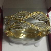 INDIAN BOLLYWOOD DESIGNER GOLD PLATED/RHODIUM PLATED  2PCS AD CZ STONES BANGLES