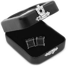 Men's Black Princess Cut Square Cz Basket Screw Back Stud Earrings S E58