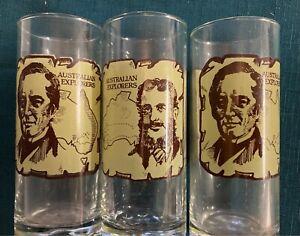 VINTAGE 1980s HUNGRY JACKS AUSTRALIAN EXPLORER COKE GLASSES