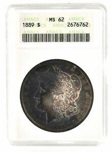 1889 Morgan Dollar Certified ANACS MS 62 American Silver Coin Black Toning