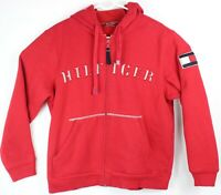 Tommy Hilfiger Denim Red Spell Out Full Zip Hoodie Jacket Pocket 2004 Flag Small