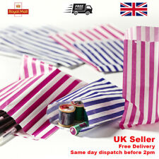 More details for candy stripe paper bags gift shop party buffet wedding cake sweet treat coloured