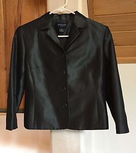 NWT Ann Taylor size 2P charcoal lined blazer jacket $138 long sleeved