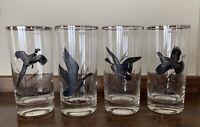 4 Vintage RICHARD E BISHOP Wild Game Birds Highball  8 oz Glass SILVER Rim