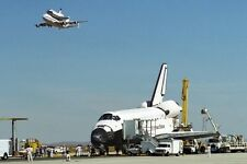 New 5x7 NASA Photo: Space Shuttle Endeavour on Runway with Columbia Overhead
