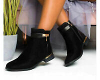 Womens Ladies Flat Faux Suede Gold Edge Biker Work Casual Chelsea Ankle Boots