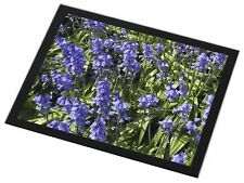 New Blue Flowers Black Rim Glass Placemat Animal Table Gift, FL-30GP