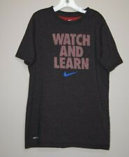 Nike Dri Fit Boys Large Gray T Shirt Watch and Learn