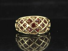 $975 CHINA 10K Solid Yellow Gold Round Red Garnet Cocktail Ring Band