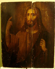 ANTIQUE  ORIGINAL LATE 18c  ICON  OF  CHRIST  OIL ON WOOD BOARD