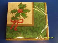 Classic Holly Christmas Holiday Party Beverage Napkins