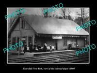 OLD LARGE HISTORIC PHOTO OF SCARSDALE NEW YORK THE RAILROAD DEPOT STATION c1900