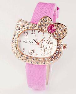 Hello Kitty Watch Gems Rhinestone Cartoon Kids Girls Fashion wrist Watch