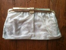 Vintage Garay Clutch Purse Jeweled Bow Tie Clasp Gold Color Clean Mid Century
