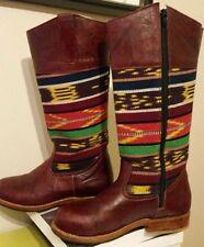 Teysha Atlas Riding Boots, Women's size 7, Leather and wool, aztec, kilim