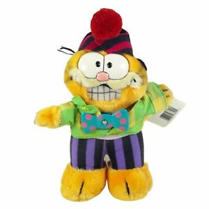 """Garfield Party Time Plush With Tags 10"""" Spinning Bow Tie Hat Clown Vintage 1988"""