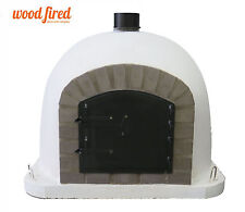 Outdoor wood fired Pizza oven 100cm white Deluxe model grey-brick/black-door