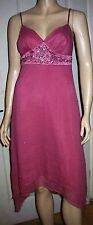 DEBUT Pink 100% Silk Strappy Sequin Lined Party Prom Dress Size 8 BNWT RRP £80