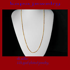 Gold Chain Men Womens 22 inch 18ct Goldplated Necklace 2mm thick Curb Chain  A10