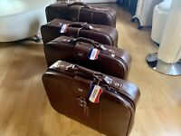 American Tourister Brown Vinyl Hippie Suitcase Luggage Bag 4 Total 70s Vintage