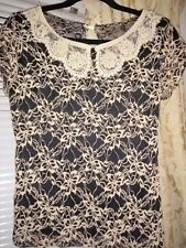 Black and Beige Blouse with lace and pearl detail :) Size 10