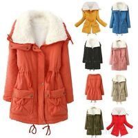 New Womens Thicken Fleece Warm Faux Fur Winter Coat Hooded Parka Overcoat Jacket