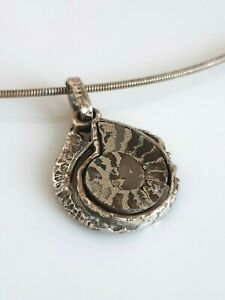 Wunderschönes Anhänger Silber 800, Ammonit, 70er, Meisterpunze AHB, Collier 925