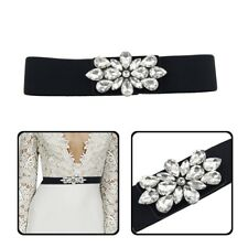 Black Elasticated Stretchable Waist Belt Women Ladies Rhinestone Diamante Buckle