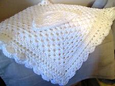 Crochet Baby Blanket/Afghan Handmade White w/ Matching Baby Hat  New