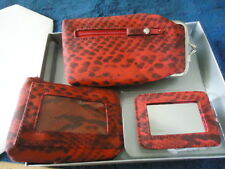 AVON 3-Piece Accessory Kit, GlassesCase-Coin Purse-Mirror RedSnakePrint, NEW!