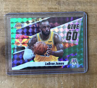 2019-20 PANINI MOSAIC LEBRON JAMES GIVE AND GO GREEN PRIZM PARALLEL #8 LAKERS
