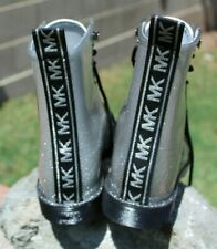 Michael Kors Glitter Rain boots Size 8.5, 9 black silver high tops faux Docs New