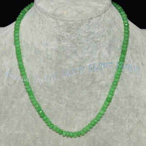 Faceted 4x6mm Natural Green Aventurine Gemstone Rondelle Beads Necklaces 14-36''