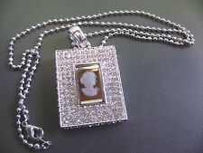 BRILLIANT SPARKLEY CZ CRYSTAL MIRRORED CAMEO VICTORIAN LADY PENDANT  NECKLACE