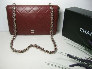 Authentic Chanel Red Burgundy Caviar Leather CC Logo Large Crossbody Bag Wallet